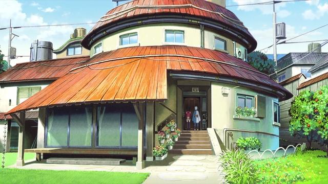 Sarada and Mitsuki outside of Boruto's house from the anime series Boruto: Naruto Next Generations
