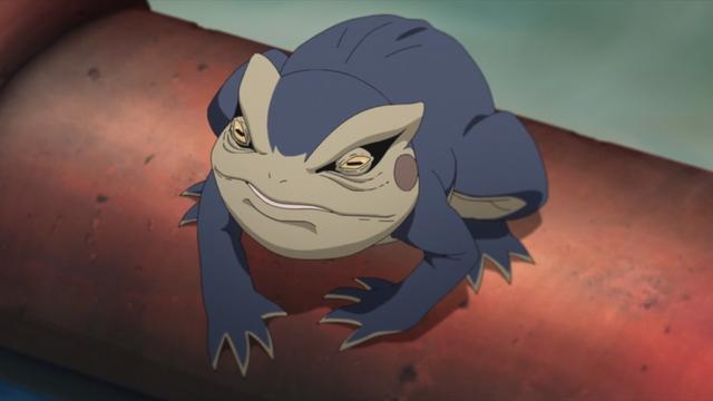 One of Koji's spy toads from the anime series Boruto: Naruto Next Generations