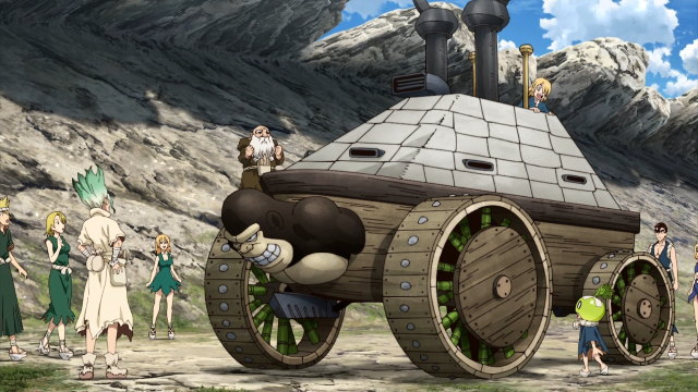 A tank-like vehicle made by Senku & friends from the anime series Dr. Stone: Stone Wars