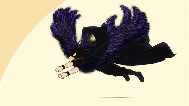 Tokoyami using Dark Shadow to fly from the anime series My Hero Academia Season 5