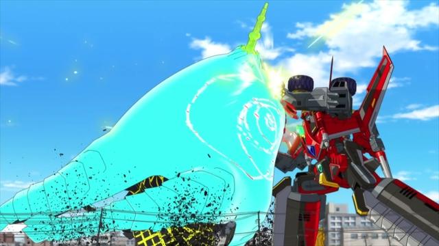 Dynazenon fighting the Kaiju from the anime series SSSS.Dynazenon