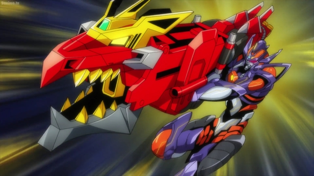 Dyna Soldier and Gridknight combining from the anime series SSSS.Dynazenon