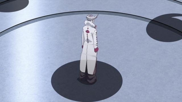A hologram of Jigen's Ōtsutsuki form from the anime series Boruto: Naruto Next Generations