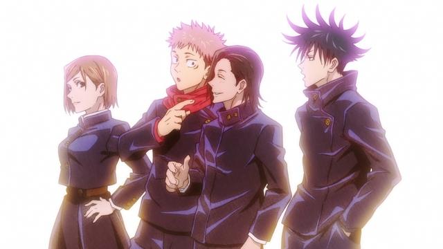 Kugisaki, Itadori, Yoshino, and Fushiguro from the anime series Jujutsu Kaisen