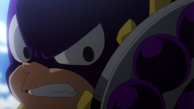 Mineta using his Grape Buckler to protect Mina from the anime series My Hero Academia Season 5
