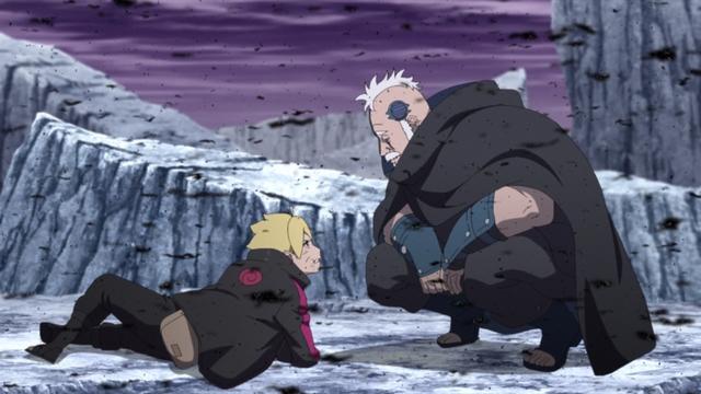 Boro talking to Boruto from the anime series Boruto: Naruto Next Generations