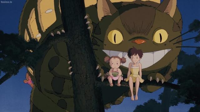 Satsuki, Mei, and Catbus from the anime movie My Neighbor Totoro