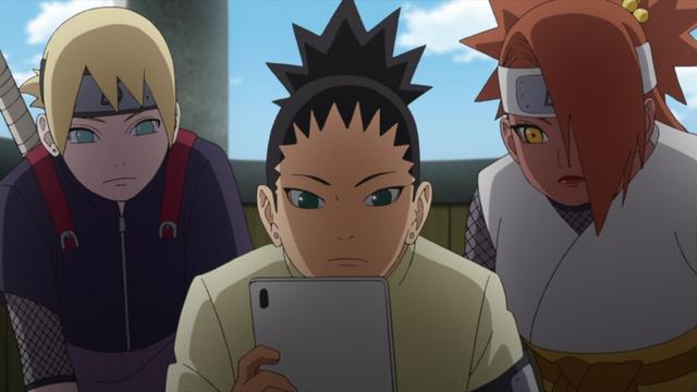 Inojin, Shikadai, and Chouchou looking at an iPad from the anime series Boruto: Naruto Next Generations