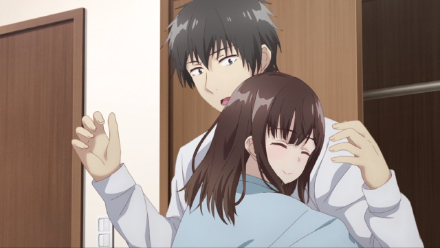 Sayu hugging Yoshida from the anime series Higehiro: After Being Rejected, I Shaved and Took in a High School Runaway.