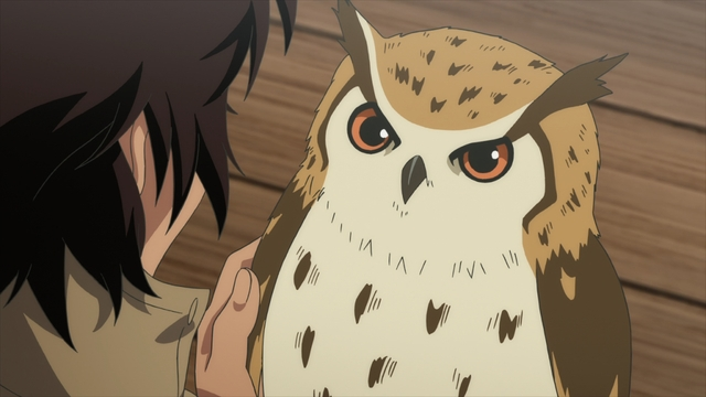 Tonari holding Ligard the owl from the anime series To Your Eternity