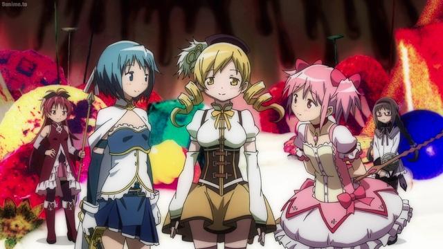 Kyouko, Sayaka, Mami, Madoka, and Homura from the anime series Magia Record: Puella Magi Madoka Magica Side Story 2nd Season