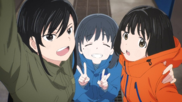 Reiko, Shii, and Koguma from the anime series Super Cub