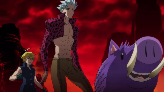 Meliodas, Ban, and Wild in Purgatory from the anime series The Seven Deadly Sins: Dragon's Judgement