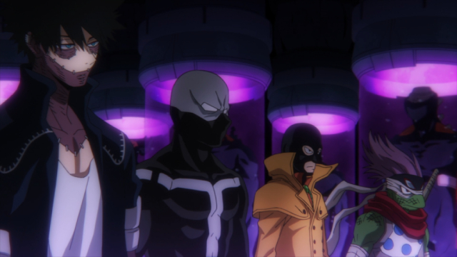 Dabi, Twice, Mr. Compress, and Spinner from the anime series My Hero Academia Season 5