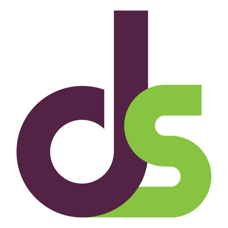 A purple lowercase D next to a green lowercase S on a white background.