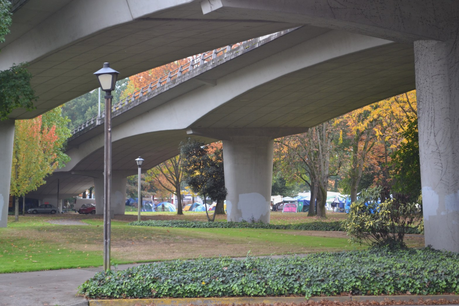Photograph of Washington Jefferson Park in the autumn, with the I 105 bridge onramp arching over the park. A streetlamp is in the foreground, and there are no people in the picture