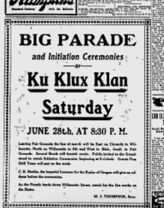 """Screenshot of an advertisement for a Ku Klux Klan rally in Eugene on June 28th, 1924. The text of the ad reads: """"Big parade and initiation ceremonies by the Ku Klux Klan, Saturday, June 28th at 8:30 pm. As the parade heads down Willamette, watch for fireworks on the Butte."""""""
