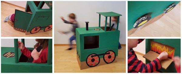 Lokomotive basteln aus einer Kartonschachtel