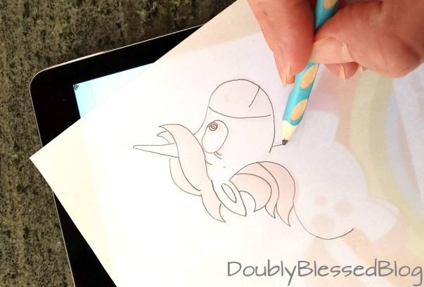 Durchpausen von Tablet auf Papier