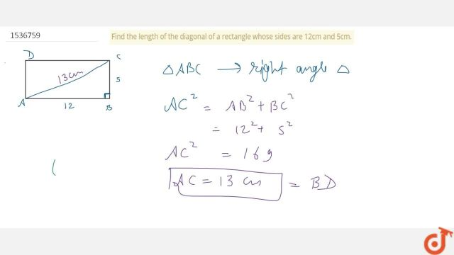Find the length of the diagonal of a rectangle whose sides are