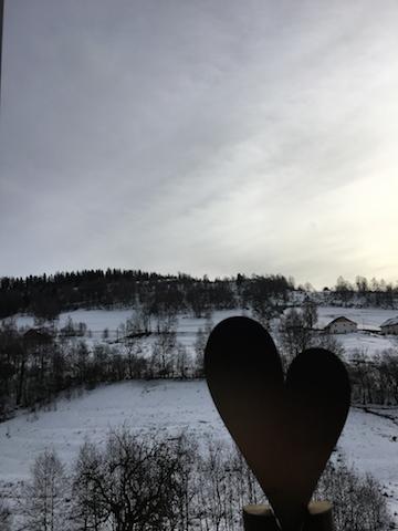 Petit coeur en ombre devant la vue de la fenêtre