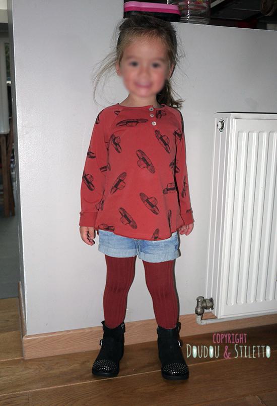 T-shirt Bobo Choses, short et collants Zara, bottes Pom d'Api