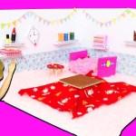 【こたつ作り】リカちゃんがサリーちゃんに可愛いお部屋を手作りDIY♪こたつをダンボールで工作♪