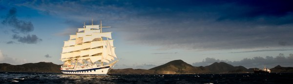 Royal Clipper setting sail from St. Kitts in the Caribbean