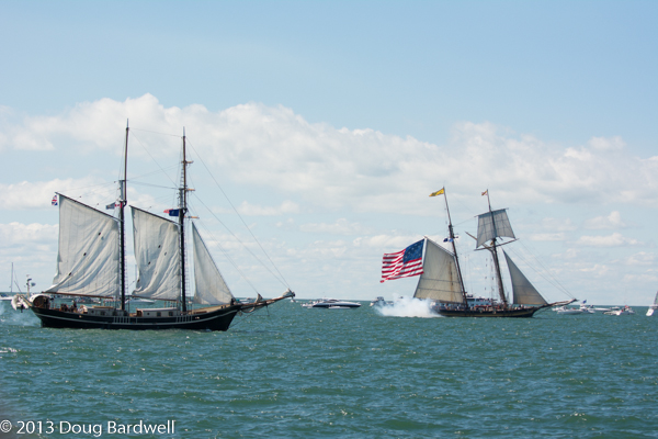 The Pride of Baltimore II, portrays the US Brig Caledonia firing on the British