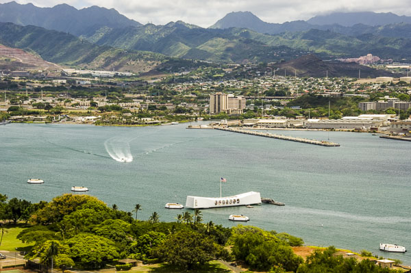 Pearl Harbor view from helicopter