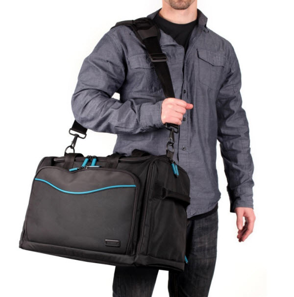 Skooba V.3 Laptop Weekender over the shoulder
