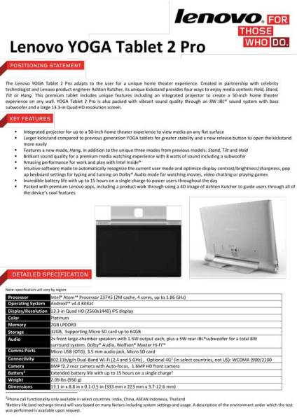 Yoga 2 Pro Tablet spec sheet