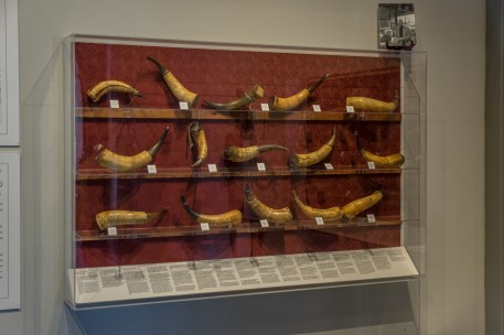 Powder horn collection at the Flynt Center of Early New England Life