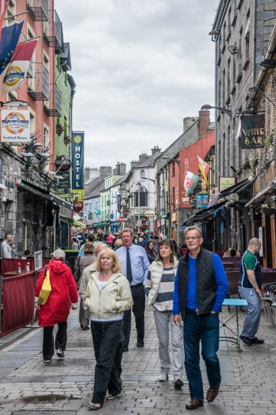 People walking down the street in Galway City