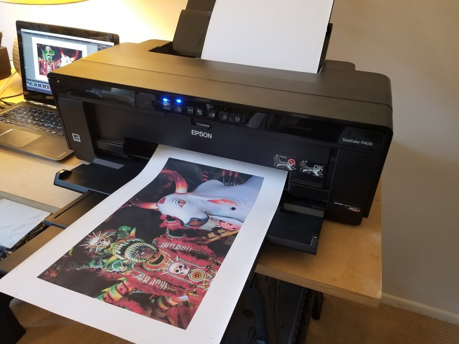 Epson SureColor P400 printer with fine art print