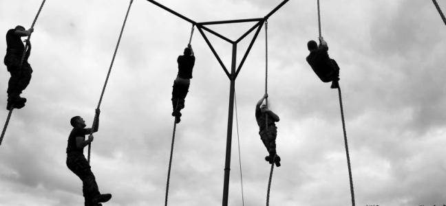 Royal Marine Recruits Rope Climbing at CTCRM