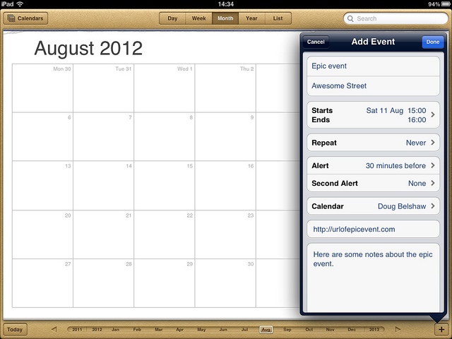 Calendar items should be organised around NOUNS