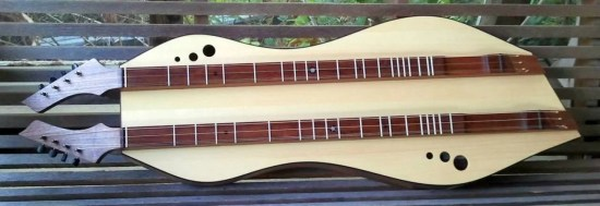 Double fretboard combination standard and baritone custom dulcimer by dulcimer makers Doug Berch