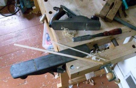 Still-life with jack plane, smoothing plane and chisel