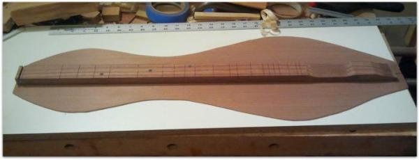 Redwood dulcimer soundboard in progress