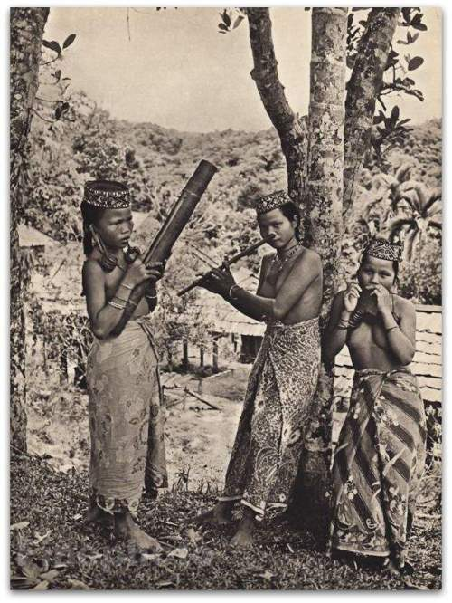 Bamboo harp, nose flue, and Jew's harp played by 3 women - Borneo