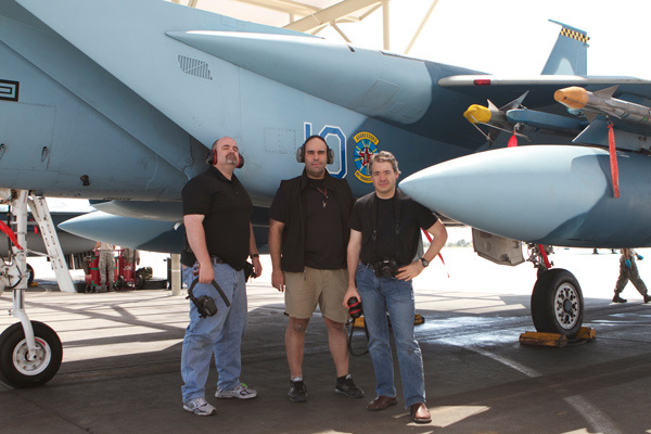 On the Flightline at Nellis AFB with Rich Harrington and Alex Lindsay. Photo by Neil Henderson.