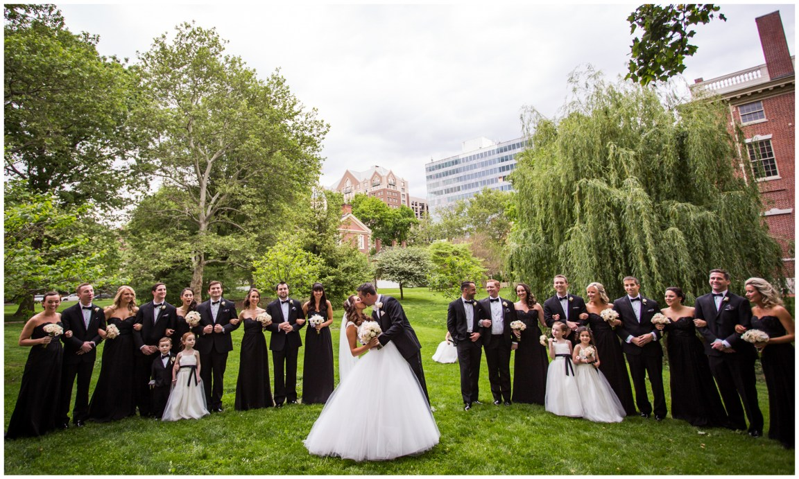 Bride, Groom and bridal party, outside Washington Square park Philadelphia PA