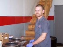 Brian getting ready to install brake rotors.