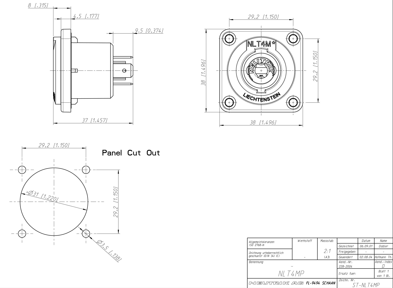 Neutrik Nlt4mp 4 Pole Metal Chassis Mount Speaker