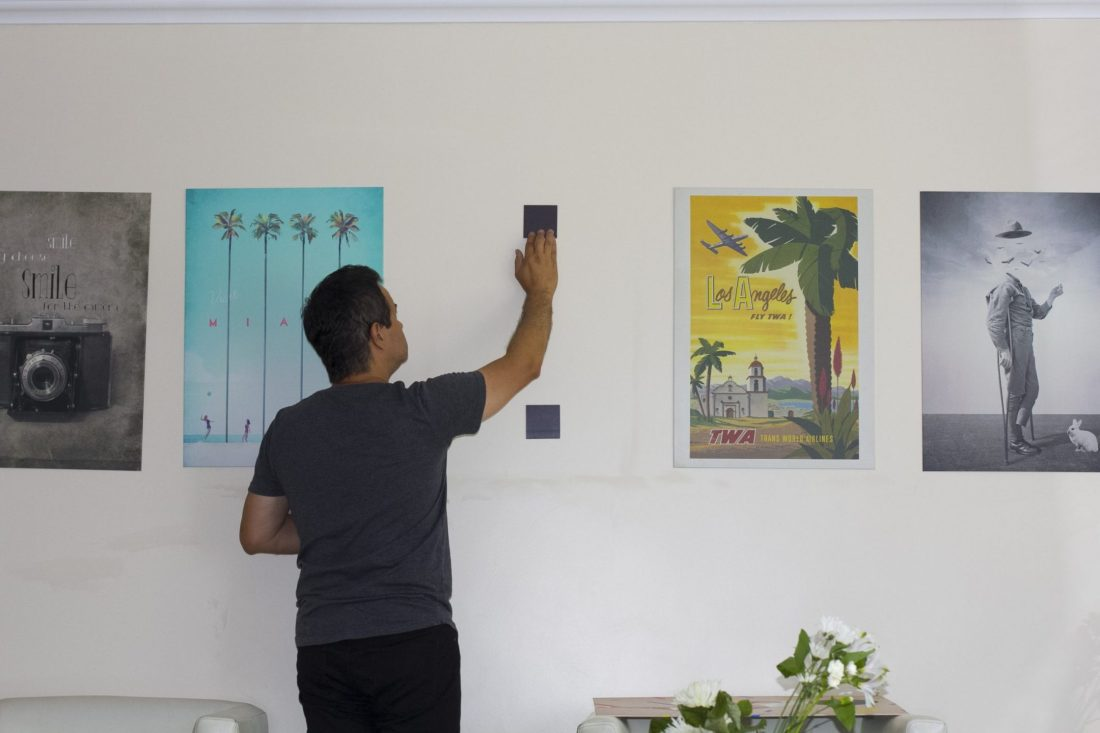 placing the wall magents for displate wall art
