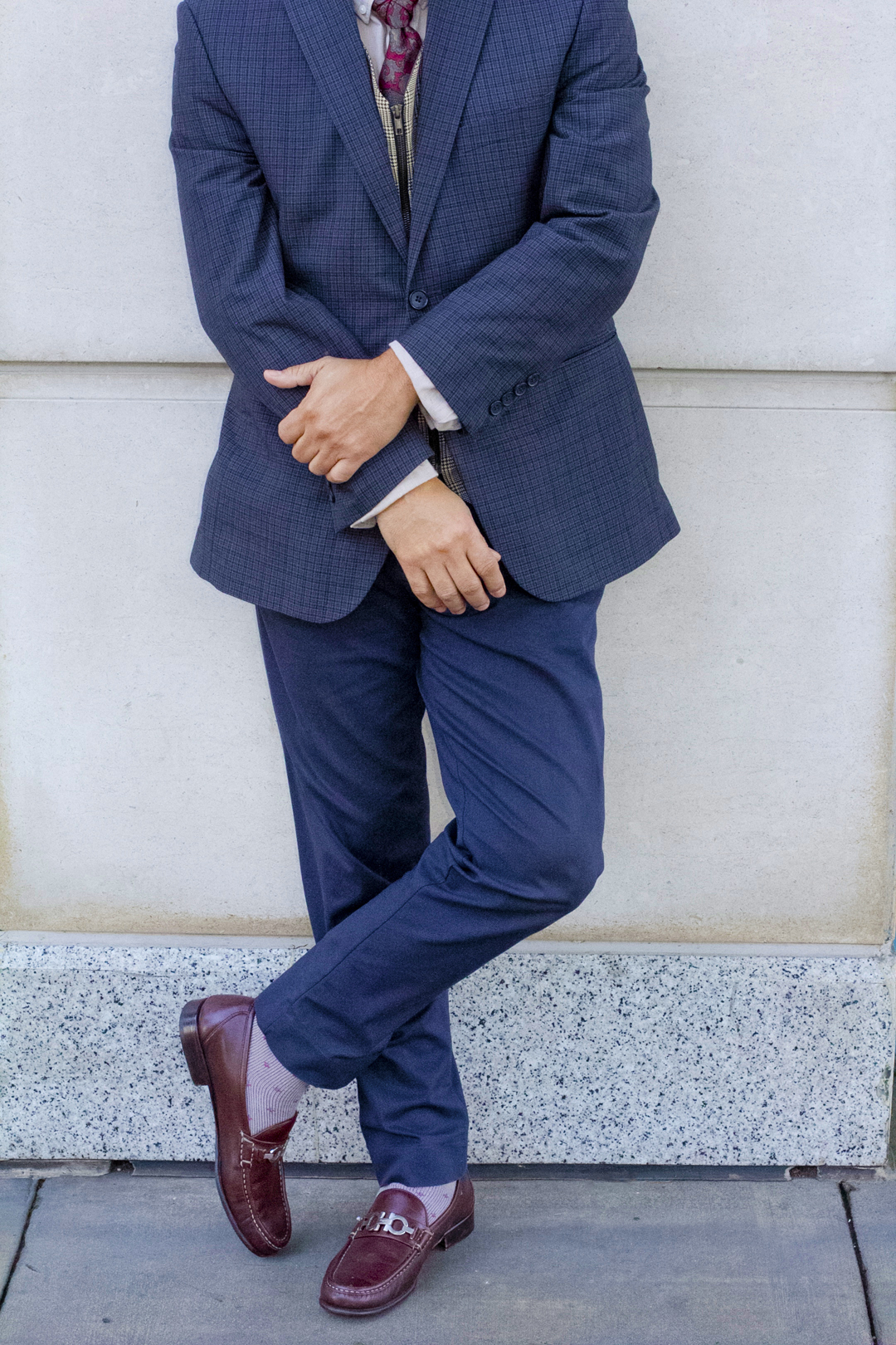 patterned suit vest and tie outfit