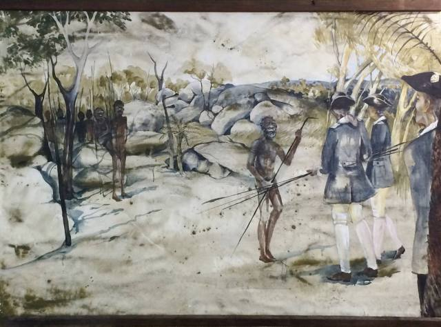 Artist's impression of the first recorded act of reconciliation at Reconciliation Rocks, Cooktown in 1770. Image Credit / Jane Eliza Dennis
