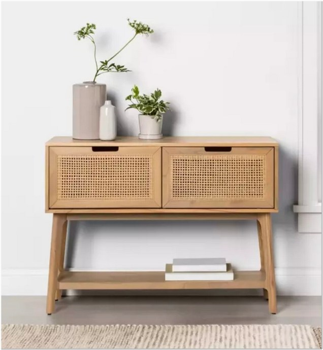 1. Hearth & Hand With Magnolia Wood & Cane Console Table With Pull Down Drawers
