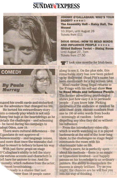 Five Star Review Doug Segal Scottish Sunday Express
